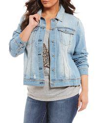 Jessica Simpson - Plus Size Peony Denim Ruffle Jacket - Lyst