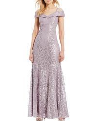 R & M Richards - Petite Size Off-the-shoulder Sweetheart Lace Gown - Lyst