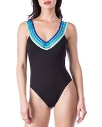 Kenneth Cole - Ombre In Stilettos V-neck X-back Tummy Toner One-piece Swimsuit - Lyst