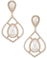 Belle By Badgley Mischka - Double Pearl Tear Drop Earrings - Lyst
