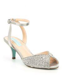 b248ab0be1fd Betsey Johnson - Blue By Royal Rhinestone Kitten Heel Dress Sandals - Lyst