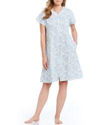 Miss Elaine - Paisley-printed Pique Zip-front Short Robe - Lyst