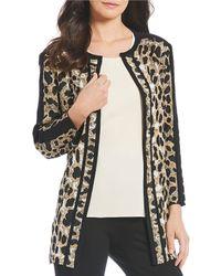 Misook - Jewel Neck Animal Print Jacket - Lyst