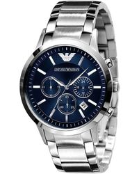 Emporio Armani Navy-dial Stainless Steel Chronograph Sport Watch