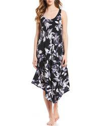 75c5f046e9 Donna Karan - Floral-print Asymmetrical-hem Knit Ballet Gown - Lyst