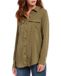 Gianni Bini - Bella Long Sleeve Button Front Blouse - Lyst