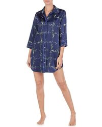 Lauren by Ralph Lauren - His Shirt Floral Print Matte Satin Sleepshirt - Lyst