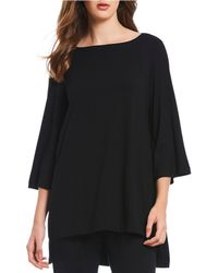 Eileen Fisher - Petite Size Bateau Neck 3/4 Sleeves Long Top - Lyst