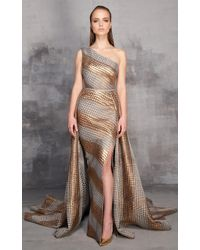 Mnm Couture - Gold One Shoulder Evening Gown - Lyst