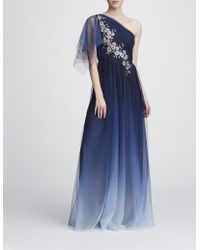 Marchesa notte - Long One-shoulder Dress - Lyst
