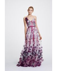 Marchesa notte - 3d Floral Tulle Evening Dress - Lyst