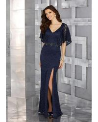 Mori Lee - Mgny By Navy Blue Metallic Lace Evening Gown - Lyst