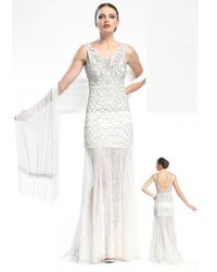 Sue Wong - White Sleeveless Evening Gown - Lyst