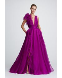 Marchesa Couture Plunging V Neck Silk Organza Evening Gown