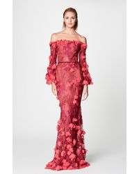 Notte by Marchesa | Red Off Shoulder 3d Embroidered Gown | Lyst