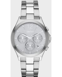 DKNY - Parsons Silver-tone And Grey Ip Chronograph Watch - Lyst