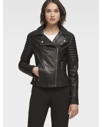 DKNY - Leather Jacket With Quilted Shoulder - Lyst