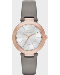 DKNY - Stanhope Grey Leather Watch - Lyst