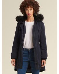 DKNY - Anorak With Fur-trimmed Hood - Lyst