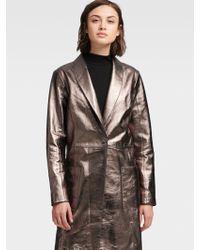 1a0c340ef60dd DKNY - Metallic Leather Trench Coat - Lyst