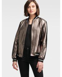 DKNY - Metallic Leather Bomber Jacket - Lyst