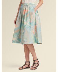 DKNY - Marble-print Poplin Pleated Skirt - Lyst