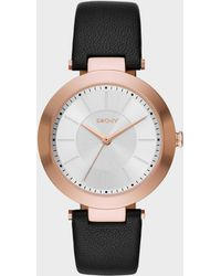 DKNY - Stanhope Black Leather 3 Hand Watch - Lyst