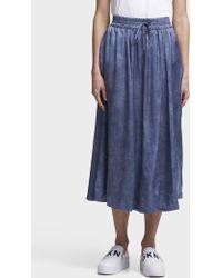 74134f1c6 DKNY Mixed Media Wrap Skirt in Black - Lyst