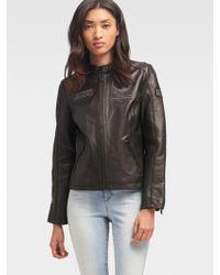 DKNY - Leather Patch Jacket - Lyst