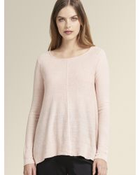 DKNY - Linen Crew Neck Pullover With Side Slits - Lyst