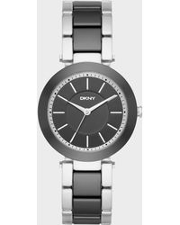 DKNY - Stanhope Stainless-steel And Black Ceramic Three-hand Watch - Lyst
