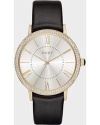 DKNY - Willoughby 38mm Gold-tone Stainless Steel And Black Leather Watch With Glitz - Lyst