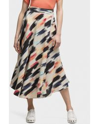 DKNY - Printed Midi Skirt - Lyst
