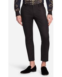 Dolce & Gabbana - Trousers In Cotton With Tuxedo Details - Lyst