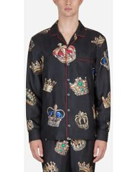 Dolce & Gabbana - Pyjama Shirt In Printed Silk - Lyst