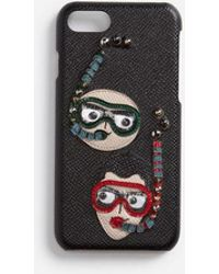Dolce & Gabbana - Iphone 7/8 Cover In Dauphine Calfskin With Diver-style Patches Of The Designers - Lyst