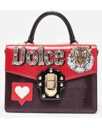 Dolce & Gabbana - Bolso De Mano Lucia De Piel Con Parche - Lyst