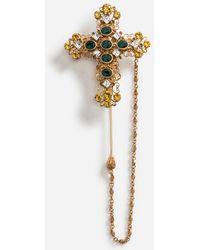 Dolce & Gabbana - Anstecknadel Aus Metall Mit Kreuz - Lyst