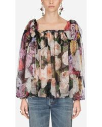 Dolce & Gabbana - Blouse In Printed Silk - Lyst