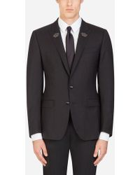 Dolce & Gabbana - Wool And Silk Martini Blazer With Patches - Lyst