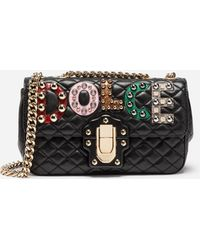 Dolce & Gabbana - Leather Lucia Shoulder Bag With Patch - Lyst