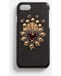 Dolce & Gabbana - Calfskin Iphone 7 Cover With Heart Patch - Lyst