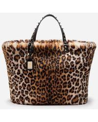 b3cdb127bc Dolce   Gabbana - Beatrice Shopping Bag In Leopard Faux Fur - Lyst