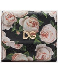 Dolce & Gabbana French Flap Wallet In Printed Dauphine Calfskin With Logo