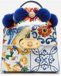 Dolce & Gabbana - Majolica-print Calfskin Welcome Handbag - Lyst