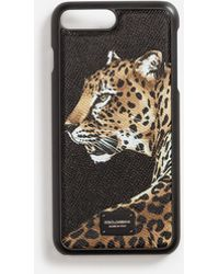 Dolce & Gabbana - Iphone 7 Plus Cover In Printed Dauphine Calfskin Detail - Lyst