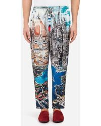 Dolce & Gabbana - Printed Silk Pyjama Trousers - Lyst