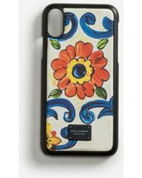 Dolce & Gabbana - Iphone X Cover With Printed Dauphine Calfskin Detail - Lyst