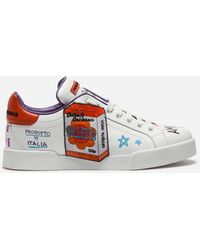 Dolce & Gabbana - Calfskin Sneakers With Embroidered Patch - Lyst
