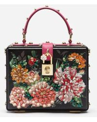 7844e632be Dolce & Gabbana - Dolce Box Bag In Printed Dauphine Calfskin With  Embroidery - Lyst